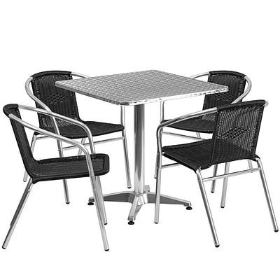 Flash Furniture 27.5 Square Aluminum Indoor-Outdoor Table with 4 Black Rattan Chairs (TLH-ALUM-28SQ-020BKCHR4-GG)