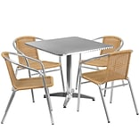 Flash Furniture 31.5 Square Aluminum Indoor-Outdoor Table with 4 Beige Rattan Chairs (TLH-ALUM-32S