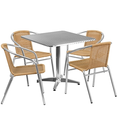 Flash Furniture 31.5 Square Aluminum Indoor-Outdoor Table with 4 Beige Rattan Chairs (TLH-ALUM-32SQ-020BGECHR4-GG)