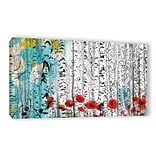 ArtWall Birches and Poppies by Irena Orlov Painting Print on Wrapped Canvas; 12 H x 24 W x 2 D