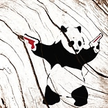 iCanvas 5by5collective Panda w/Red Guns Graphic Art on Wrapped Canvas; 18 H x 18 W x 0.75 D