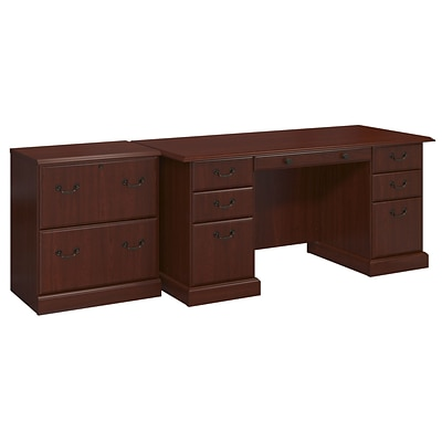 kathy ireland® Office by Bush Business Furniture Bennington Managers Desk and Lateral File, Harvest Cherry (BNT007CS)