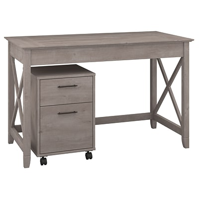 Bush Furniture Key West 48W Writing Desk with 2 Drawer Mobile Pedestal, Washed Gray (KWS001WG)