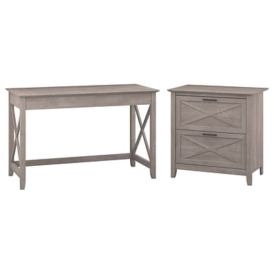 Bush Furniture Key West 48W Writing Desk with Lateral File, Washed Gray (KWS003WG)