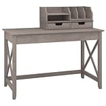 Bush Furniture Key West 48W Writing Desk with Desktop Organizers; Washed Gray (KWS005WG)