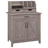 Bush Furniture Key West Laptop Storage Desk Credenza with Desktop Organizers; Washed Gray (KWS011WG)
