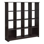 Bush Furniture Cabot Collection 16 Cube Bookcase; Espresso Oak (WC31803-03)