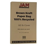 JAM Paper® Matte Legal Cardstock, 8.5 x 14, 60lb Recycled Brown Kraft Paper Bag, 250/ream (463117509