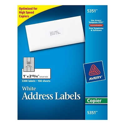 Avery® 5351 White Copier Address Labels, 1 x 2-13/16, 3,300/Box