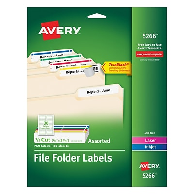 Avery Laser/Inkjet Permanent File Folder Labels with TrueBlock, 2/3 x 3-7/16, Assorted Colors, 750/Pack (05266)