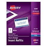 Avery 05390/CC-12P Name Tag Insert Sheets, 2.25 x 3.5, 400/Box