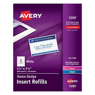 Avery® Name Tag Insert Sheets, 2 1/4 x 3 1/2