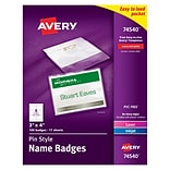 Avery Pin-Style Name Tag Holders (74540) - Plastic - 3x4, 100 ct