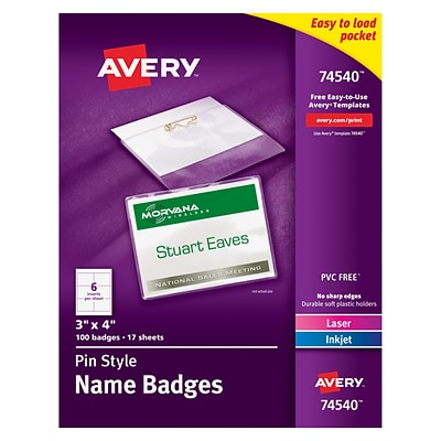 Avery® 74540 Top-Loading Pin-Style Name Badges, 3 x 4, 100/Pack