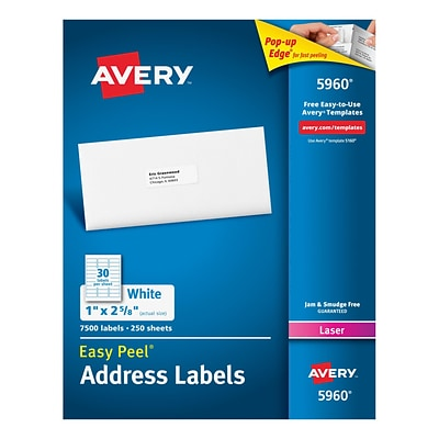 Avery Laser Address Labels with Easy Peel, 1 x 2-5/8, White, 7,500/Box (5960)