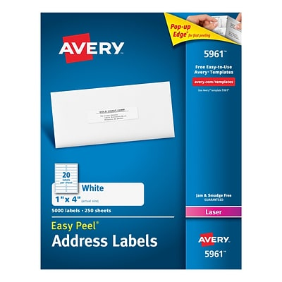 Avery Laser Address Labels with Easy Peel, 1 x 4, White, 5000/Box (05961)