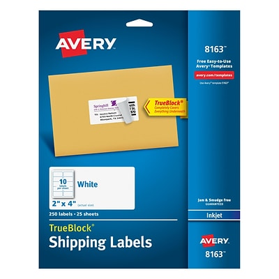 Avery 2 x 4 Inkjet Shipping Labels with TrueBlock™, White, 250/Box (8163)