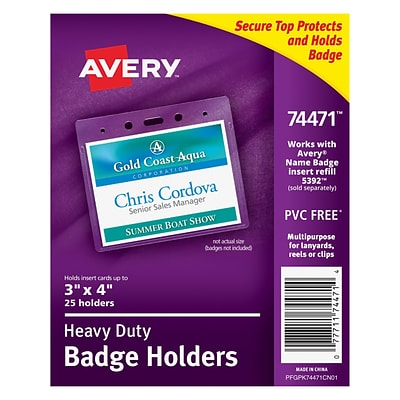 Avery 74471 Vinyl Horizontal Badge Holder,  3 x 4, Clear, 25/Pack