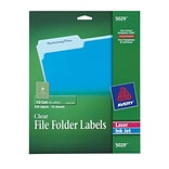 Avery® 5029 Clear File Folder Labels; Laser or Inkjet, 2/3 x 3-7/16, 450/Box