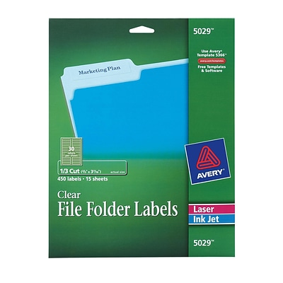 Avery® 5029 Clear Permanent File Folder Labels, 450/Pack