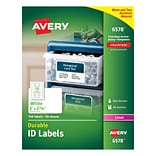 Avery® 6578 White Durable Multipurpose Labels; 2 x 2-5/8, 750/Box