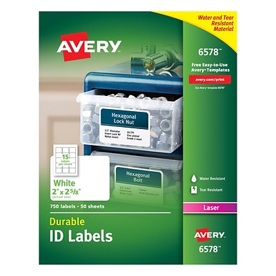 Avery® 6578 White Permanent Durable ID Laser Labels, 2 x 2-5/8, 750/Pack