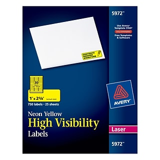 Avery® 5972 High Visibility Address Labels; Neon Yellow, 750/Box