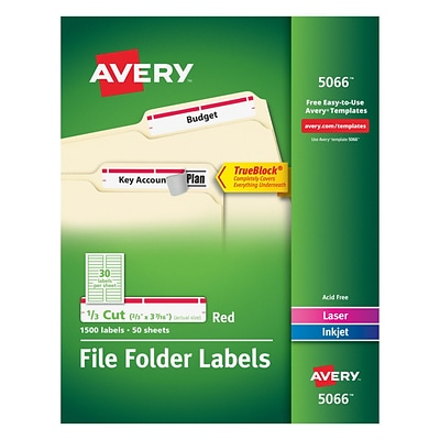 Avery® 5066 Red Permanent File Folder Labels with TrueBlock™, 1,500/Pack