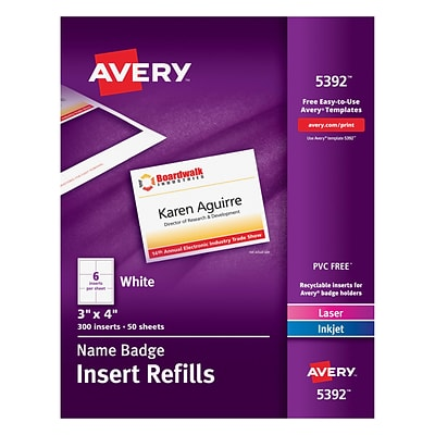 Avery® Name Tag Insert Sheets, 3 x 4