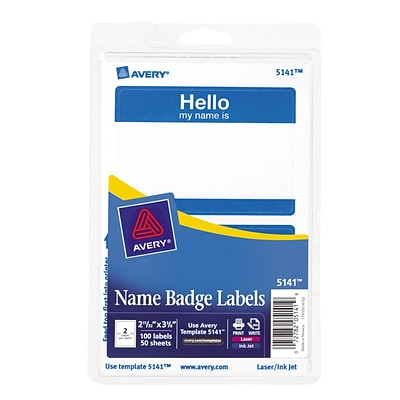 Avery® Removable Print or Write Name Badge Labels, HELLO, Blue, 2-11/32x3-3/8, 100 Labels