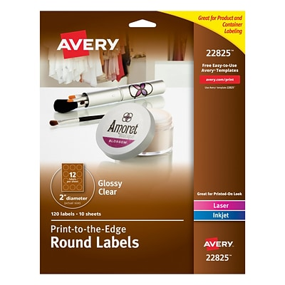 Avery® 22825 Print-to-the-Edge Clear Round Labels, Glossy, 2 Diameter, 120/Pack