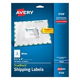 Avery Shipping Labels with TrueBlock Technology, 4 Labels Per Sheet, White, 3 1/2 x 5, 100/Pk