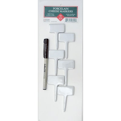 Honey Can Do Porcelain Cheese Markers with Pen, Set of 6 (8089)