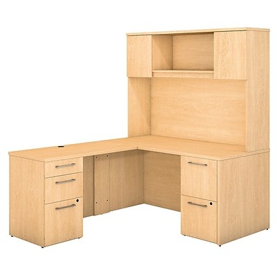 Bush Business Furniture Emerge 60W x 30D L Shaped Desk with Hutch and 2 Pedestals, Natural Maple (300S103AC)