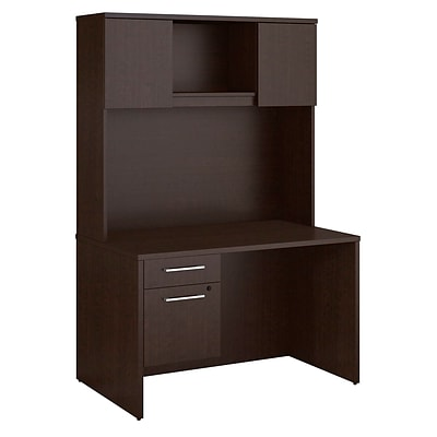 Bush Business Furniture Emerge 48W x 30D Desk with Hutch and 3/4 Pedestal, Mocha Cherry (300S102MR)