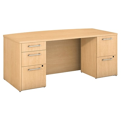 Bush Business Furniture Emerge 72W x 36D Bow Front Desk with 2 and 3-Drawer Pedestals, Natural Maple (300S101AC)