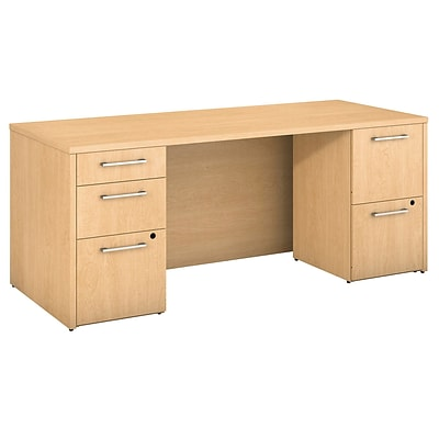 Bush Business Furniture Emerge 72W x 30D Desk with 2 and 3 Drawer Pedestals, Natural Maple (300S100AC)