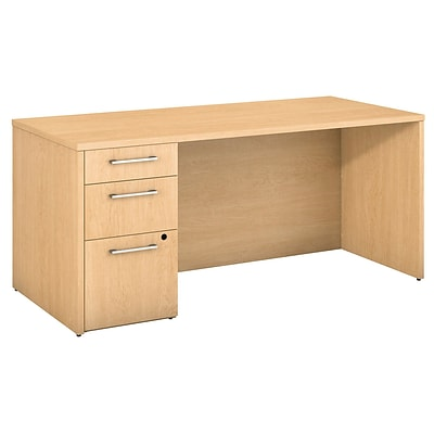 Bush Business Furniture Emerge 66W x 30D Desk with 3 Drawer Pedestal - Installed, Natural Maple (300S097ACFA)