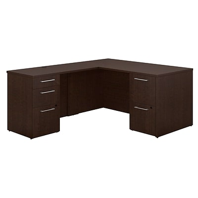 Bush Business Furniture Emerge 60W x 30D L Shaped Desk with 2 and 3 Drawer Pedestals, Mocha Cherry (300S096MR)