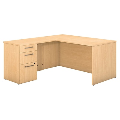 Bush Business Furniture Emerge 60W x 30D L Shaped Desk With 3 Drawer Pedestal, Natural Maple (300S095AC)