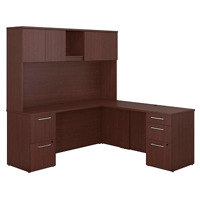 Bush Business Furniture Emerge 72W x 22D L Shaped Desk with Hutch and 2 Pedestals - Installed, Harvest Cherry (300S061CSFA)