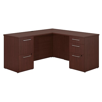 Bush Business Furniture Emerge 60W x 22D L Shaped Desk with 2 and 3 Drawer Pedestals, Harvest Cherry (300S038CS)