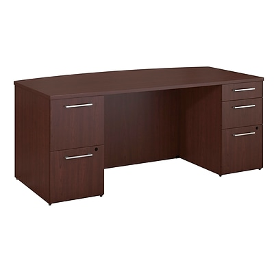 Bush Business Furniture Emerge 72W x 36D Bow Front Desk with 2 and 3 Drawer Pedestals,Harvest Cherry (300SDDB72CSKFA)