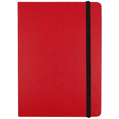 JAM Paper® Hardcover Lined Notebook with Elastic Closure, Medium, 5 x 7 Journal, Red, Sold Individually (340526611)