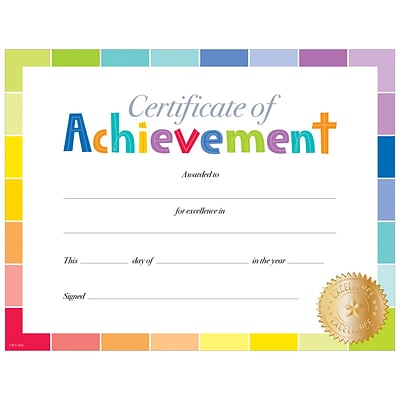 Creative Teaching Press Painted Palette Certificate of Achievement Large Awards 8-1/2x11, Pack of 50 (TCR2536)