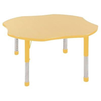 ECR4Kids 48 Clover Table Maple/Yellow-Chunky Legs  (ELR-14101-MYE-C)