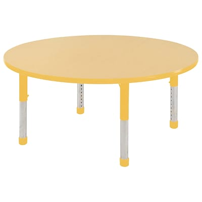 ECR4Kids 48 Round Table Maple/Yellow-Chunky Legs  (ELR-14115-MYE-C)
