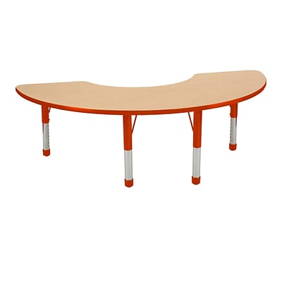 "36""x72"" Half Moon T-Mold Activity Table, Maple/Red/Chunky"