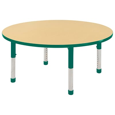 "60"" Round T-Mold Activity Table, Maple/Green/Chunky"