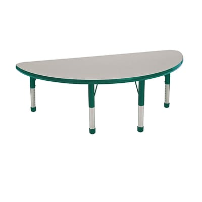 "24""x48"" Half Round T-Mold Activity Table, Grey/Green/Chunky"